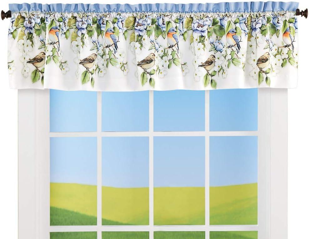 Collections Etc Birds and Magnolia Window Valance - Elegant Spring Décor for Bathroom