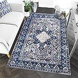 "8 x 10 Area Rug Gray & Blue Oriental Medallion Rug Living Room Dining Room Bedroom Transitional Vintage Distressed Design [ 7' 10"" X 9' 10""]"