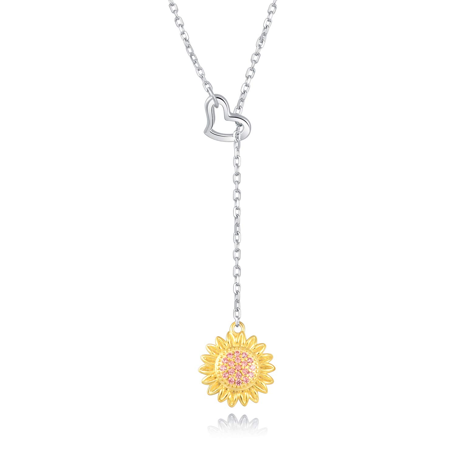 Freeco 925 Sterling Silver Sunflower with CZ Warmth Positivity Jewelry Y Pendant Necklace for Women Girls by FREECO