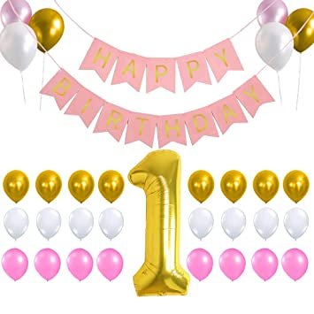 Amazon.com: 1st pancarta de feliz cumpleaños fondo ...
