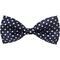 Zacharias Men's Satin Polka Dot Bow Tie (Navy Blue, Free Size)