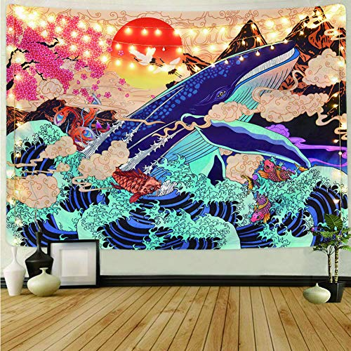"Cestbin Japanese Ukiyo-e Tapestry The Great Wave Tapestry Hippie Koi Whale Sunset Tapestry, Psychedelic Sun Animal Ocean Trippy Tapestry for Dorm Bedroom Living Room (Sunset Wave, 59.1"" x 78.8"")"
