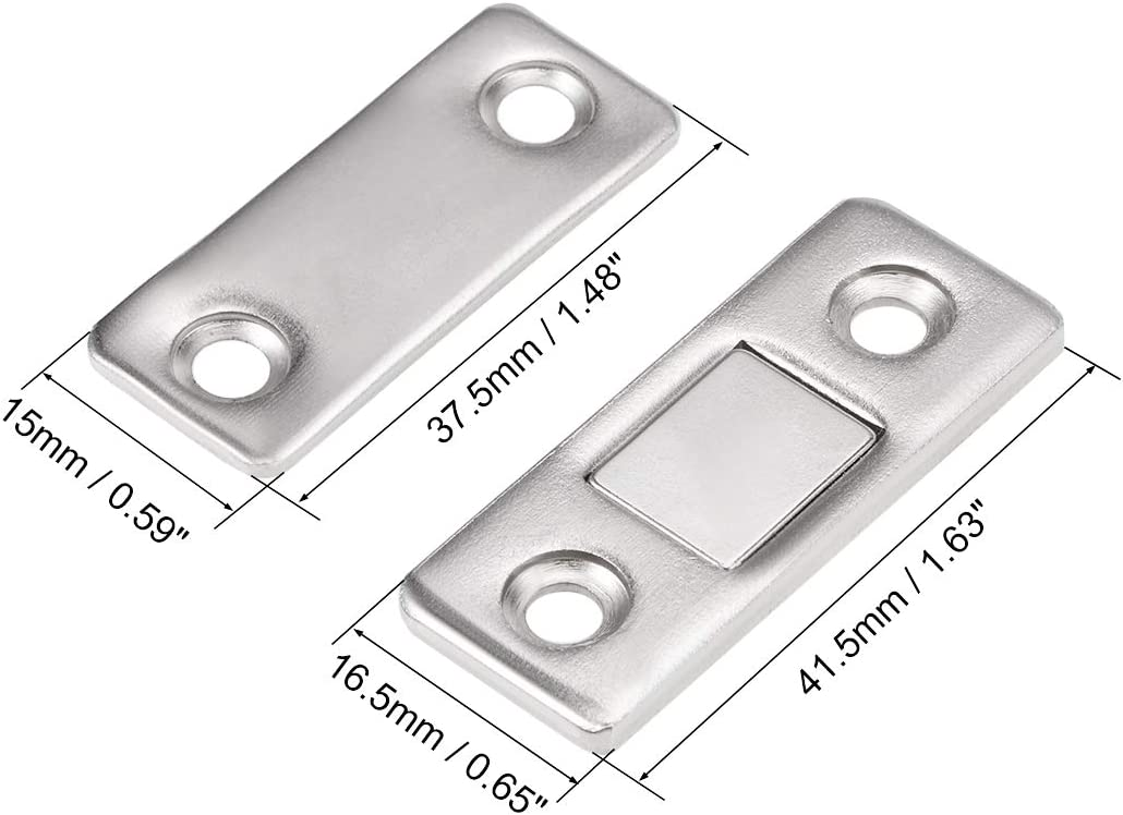 uxcell Thin Magnetic Cabinet Door Catch Stainless Steel Magnet Latches 2pcs