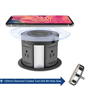 Automatic Pop Up Sockets,Hidden Recessed Power Strip Surge Protector,Pop Up Power Outlet,with Wireless Charger,USB Charging Ports, AC Outlets,RJ45 Cat6 Data Port and HDMI Port,for Office Conference