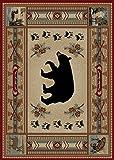 Cheap Rustic Lodge Bear Moose Red 5×7 Area Rug, 5'3×7'3