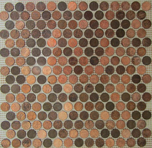 Copper Penny Round Coin Tile Sheets for Floor or Wall Art By: Stone Deals (Round Top Mesh Table Bar)