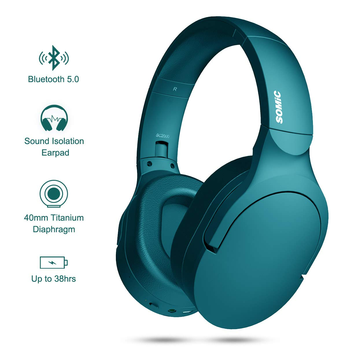 SOMIC SC2000BT Noise Cancelling 5.0 Bluetooth Wireless Headphones, Over Ear Headset with HiFi Stereo Sound Headsets and 38H Playtime for Phone, PC, Travel(Green)