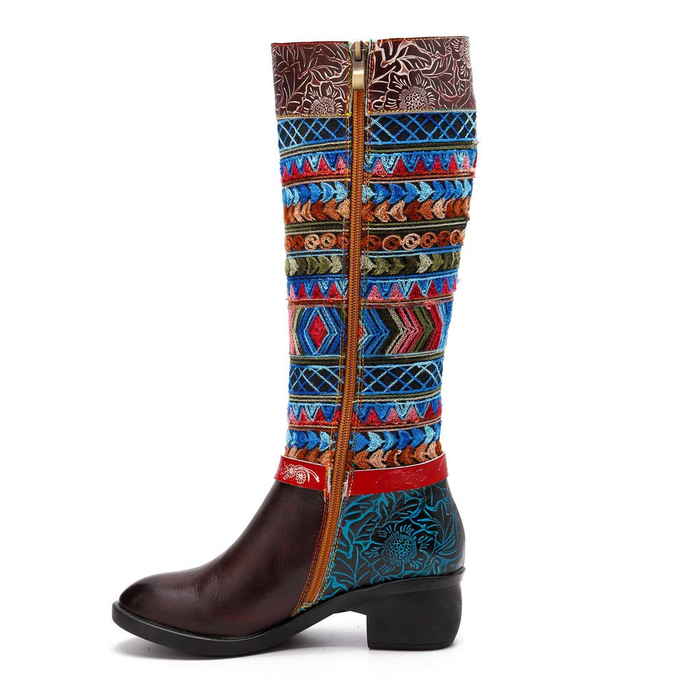 LEFT&RIGHT Kniestiefel Damen Kniehohe Knöchel Reitstiefel Damen Herbst Winter Warm Over Kniehohe Stiefel Zip Low Flache Ferse Lange Stiefel Bohemian Spleißen Muster  | Export