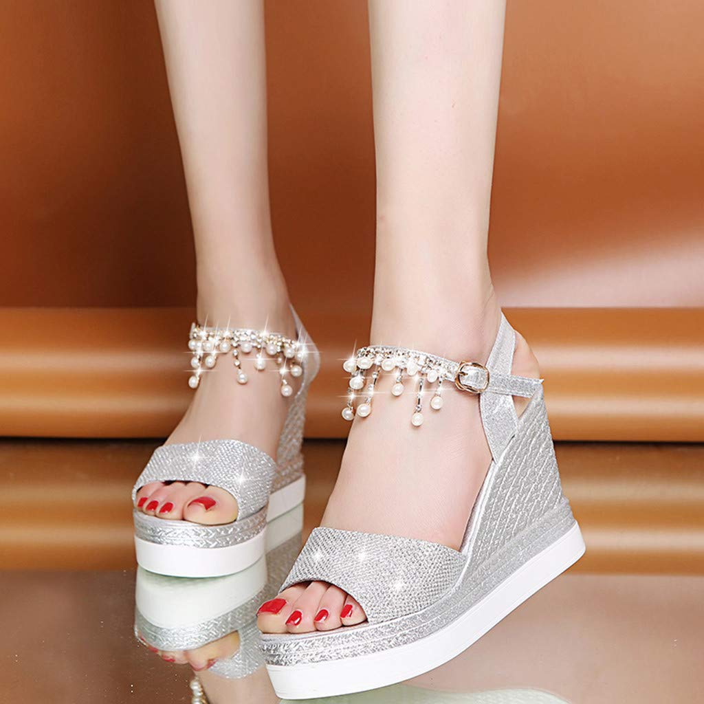 〓COOlCCI〓Womens Middle Wedge Heel Ankle Strap Open Toe Flip Sandals Espadrille Platform Wedges Sandals Slingback Silver by COOlCCI_Shoes (Image #3)