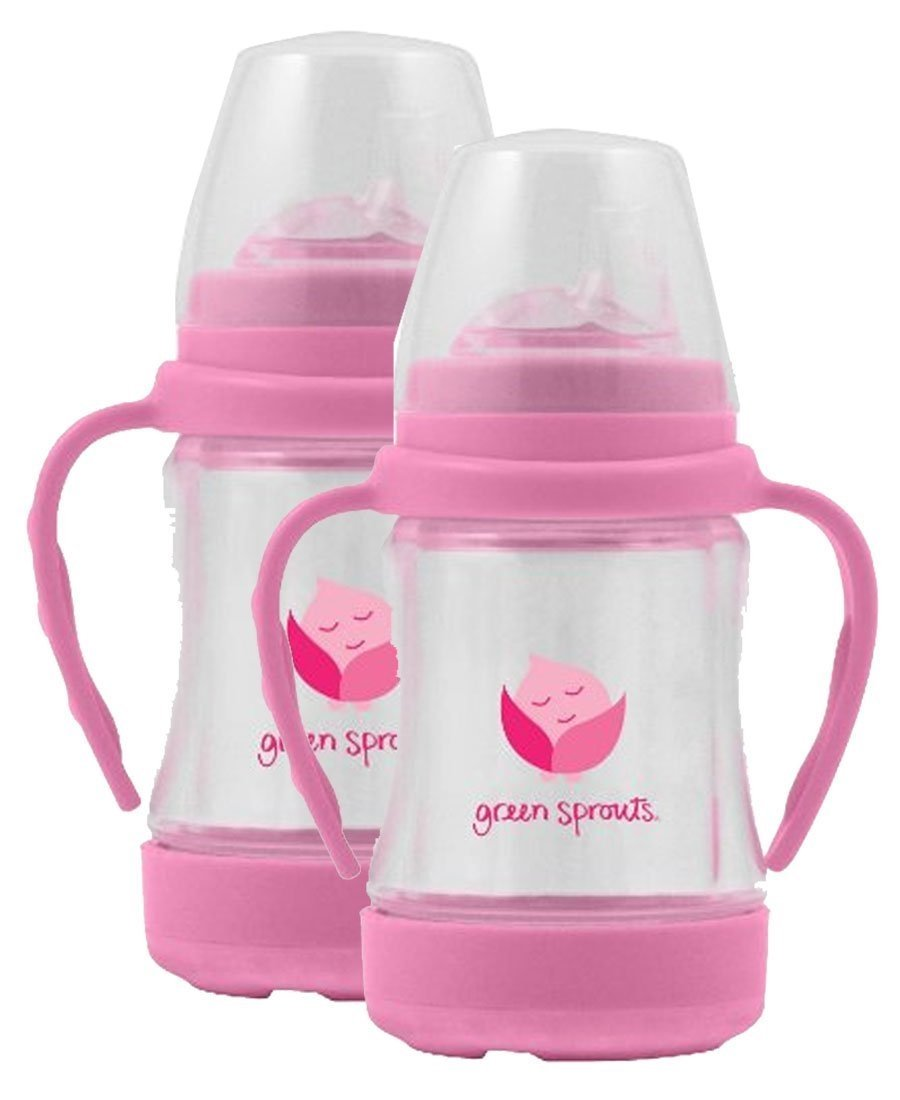 green sprouts Glass Sip 'n Straw Cup,4 ounce,2 Pack: Light Pink