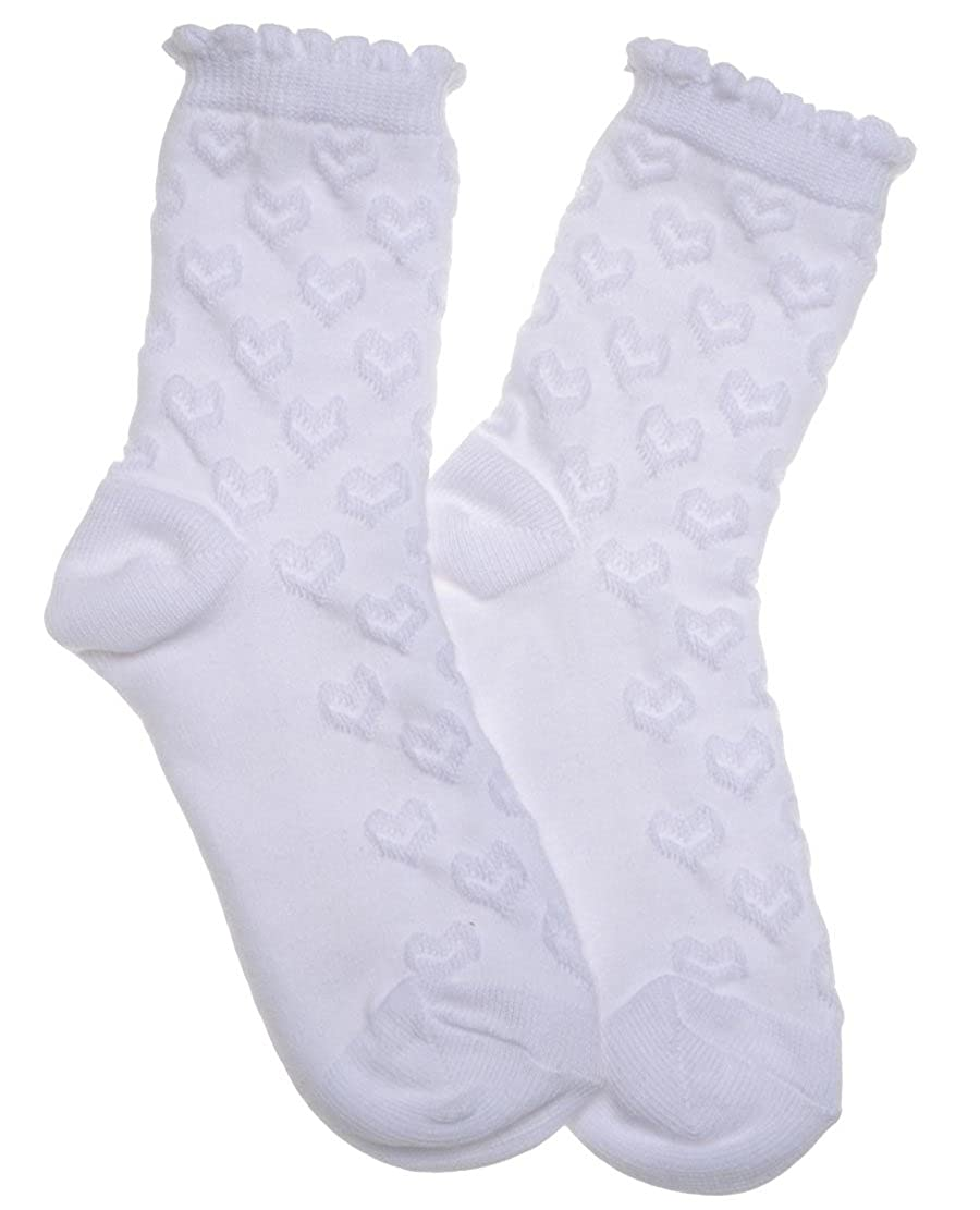 5 pairs of White Hearts Design Girls socks