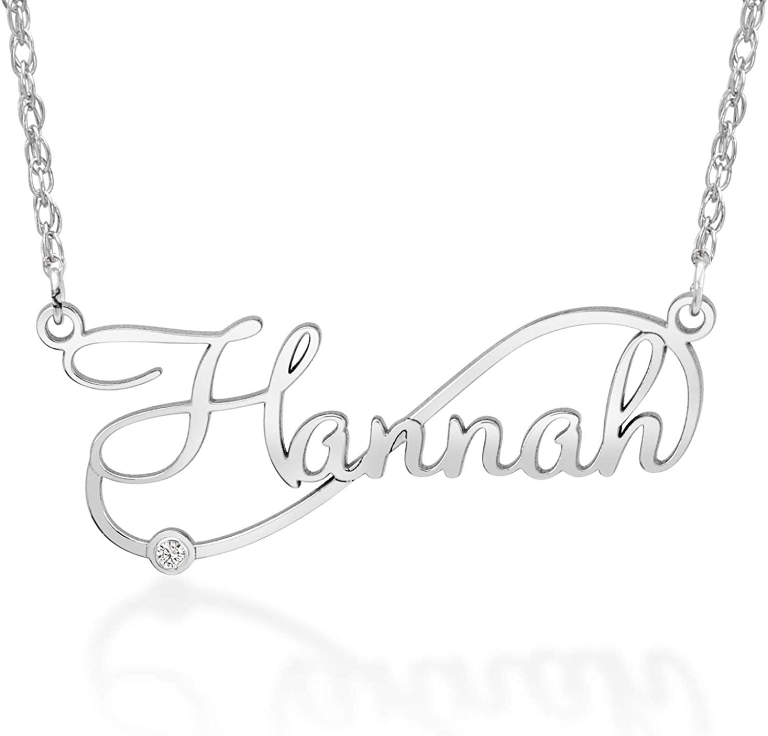 0.35x1.37 | Up to 8 Letters Personalized Cursive Name Plate Necklace 9.5x35mm Available in Silver /& Gold High-Grade Material