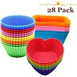 Ielek Official Silicone Baking Cups Muffin Cups Liners Molds Sets in Storage Container-28 Pack …