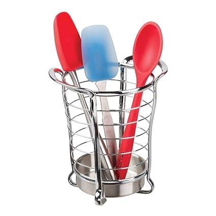 mDesign cesta organizadora para sus utensilios de cocina Organizador cocina elegante Cesta acero inoxidable