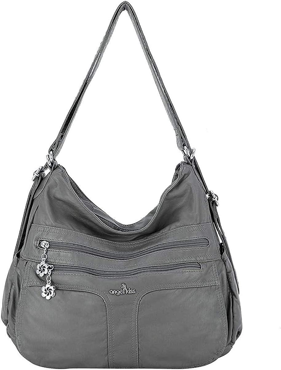 Hobo Women Handbags Roomy Multiple Pockets Street ladies' Shoulder Bag Fashion Soft Washed Leather Tote Satchel Bag