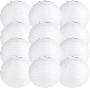 BESKIT 12 Packs 12inch Paper White Round Lanterns Party Hanging Lanterns for Wedding Party Decorations