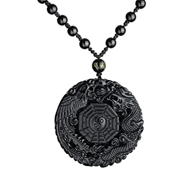 cc416d09d759e Omonic 100% Natural Black Obsidian Pendant Necklace Dragon Phoenix with  Chain for Lucky and Protection