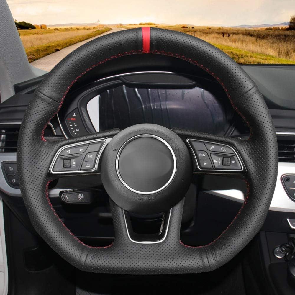 HCDSWSN Echtes Leder Auto Lenkradbezug f/ür Audi A3 2017-2019 A5 2018-2019 RS 3 2018 RS 5 2018-2019 S3 2017-2019