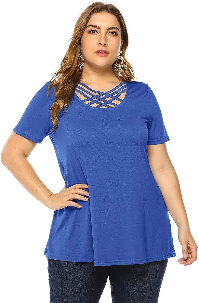 LRWEY Camisetas para Mujer, Camisa de Mujer con Talla Grande, Blusa Cruzada, Camisa de Manga Corta, Manga Corta: Amazon.es: Ropa y accesorios
