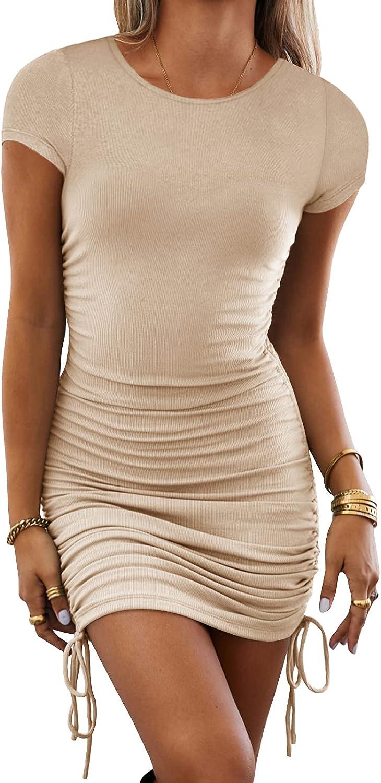 Women Ladies Casual Slim Elegant Crew Neck Short Sleeve Irregular Bodycon Dress