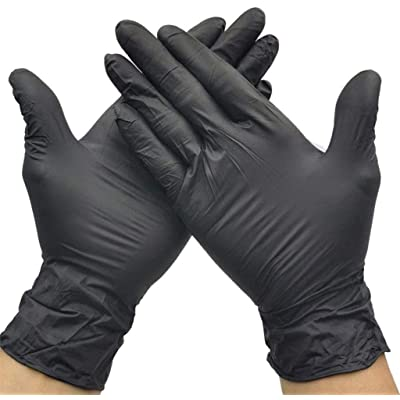 Mousmile Disposable Nitrile Gloves 100 Pcs/Pack for Industrial Clean Up, Medical, Non Contact Sterile Isolation Hand Glove (S(6-8cm), Black) : Garden & Outdoor