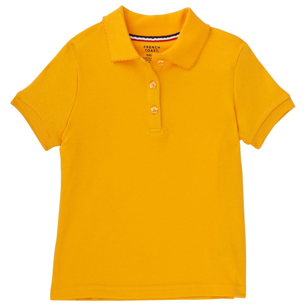 French Toast Big Girls' Short Sleeve Interlock Polo With Picot Collar SA9423