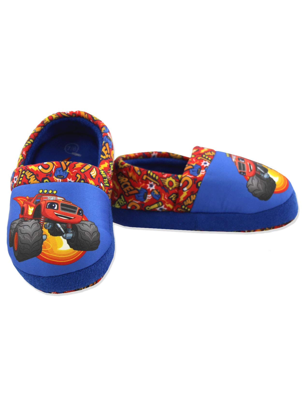 Blaze and The Monster Machines Boys Toddler Plush Aline Slippers (7-8 M US Toddler, Red/Blue)
