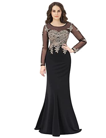 da246e30606d anmor Women s Long Sleeve Applique Beaded Prom Ball Dress Long 2019 Evening  Pageants Party Gowns Black