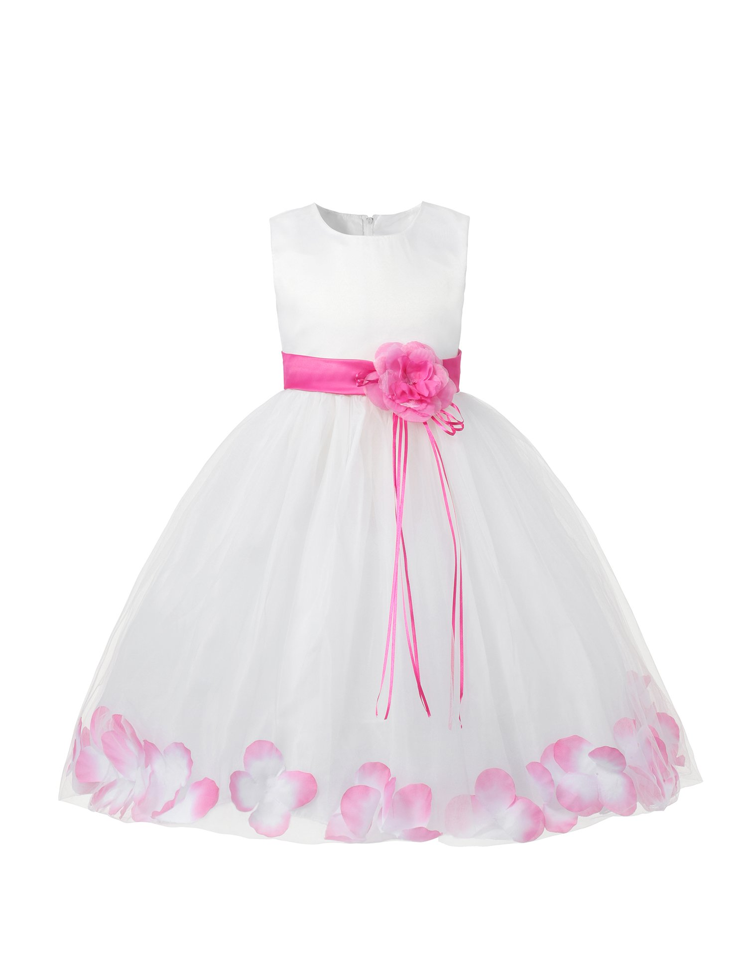 Little Girl Tutu Flower Petals Bow Dress Chiffon Princess Dresses for Wedding Party(5 Years,Pink)