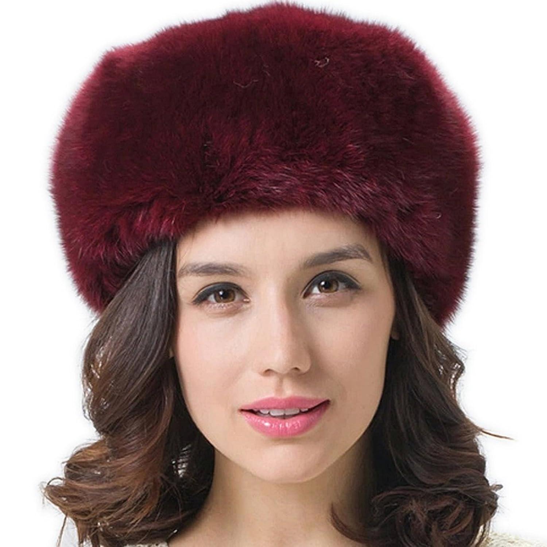 FURTALK Damen Winter Echte Flaumig Nature Fuchspelz mongolischen Stil Mütze Pelzmütze Wintermütze