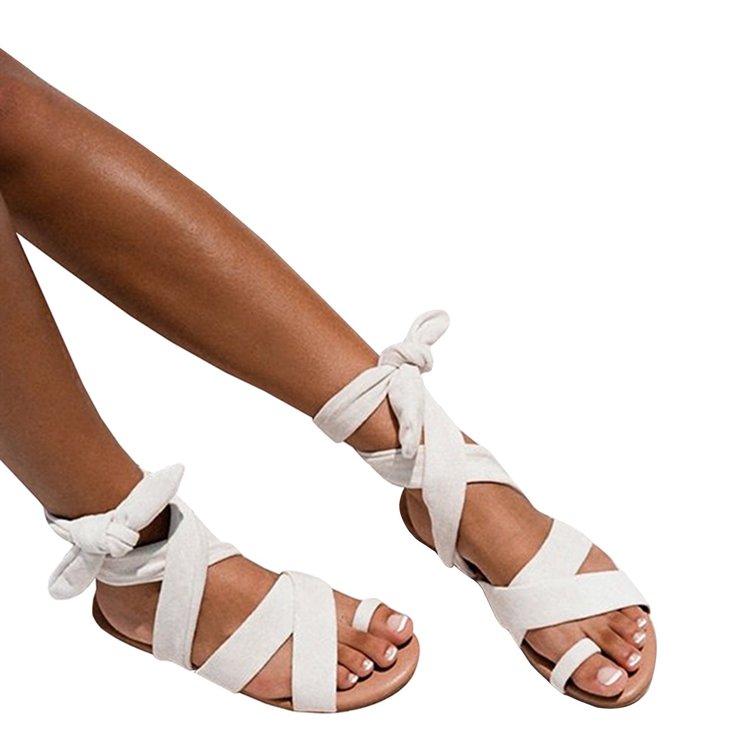 4536358e672 Syktkmx Womens Lace Up Strappy Toe Ring Cute Summer Beach Flat Dress Gladiator  Sandals - Casual Women s Shoes