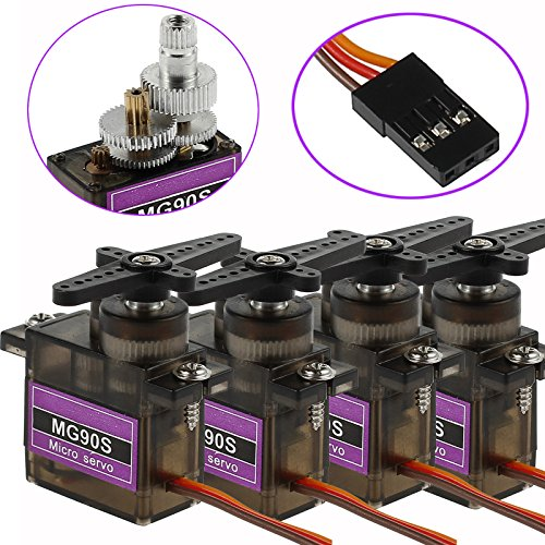 (CAMWAY 4 X MG90S Micro Servo Metal Gear High Speed for RC Helicopter Car Boat Futaba New)