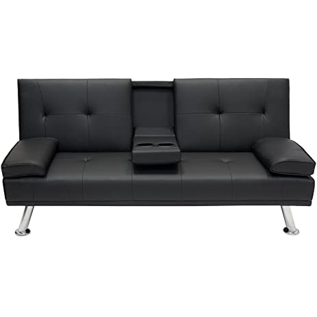 Best Choice Products Modern Entertainment Futon Sofa Bed Fold Up & Down  Recliner Couch With Cup