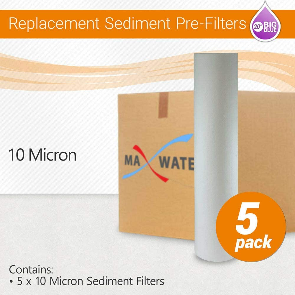 """(5) Big Blue 20""""x 4.5"""" Whole House 10 Micron Sediment Water Filter 610uXP6bUIL"""