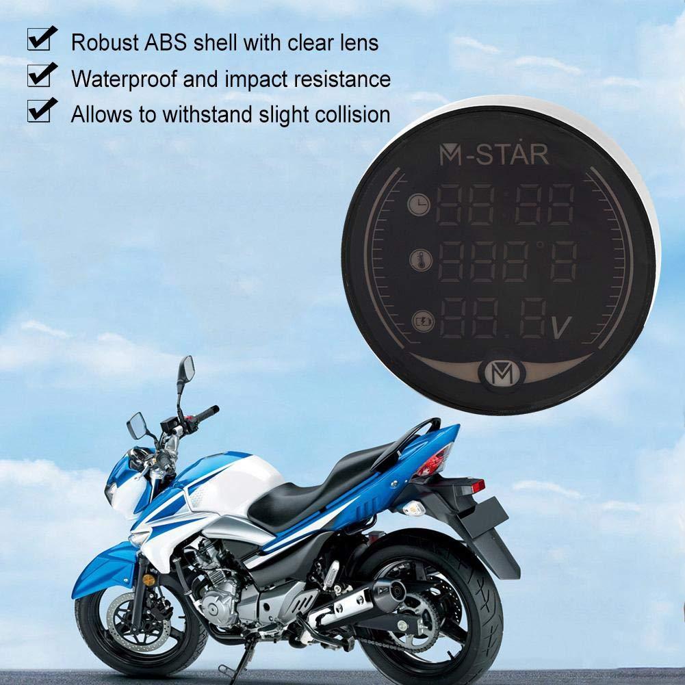 Aramox Thermometer Voltmeter 3-in-1 Motorcycle Electronic Digital Thermometer Voltmeter Time Clock tester Temperature Gauge