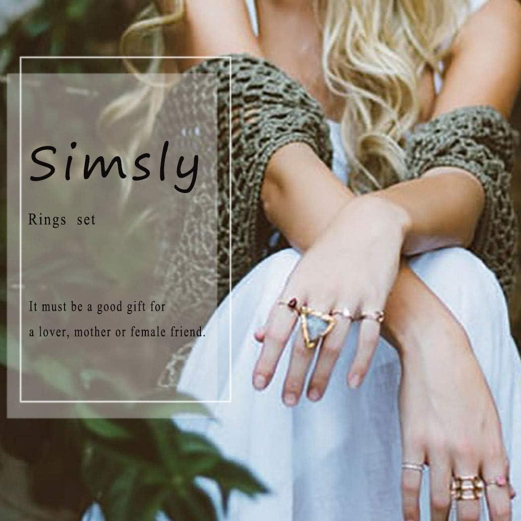 motif /étoile et lune Lot de 12 bagues style vintage en argent pour femme et fille Simsly