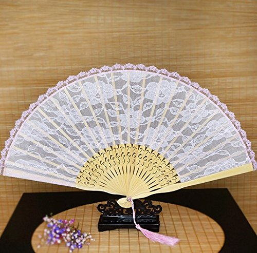 Spanish Hand Fan Pink Bamboo Folding Lace Hand Fan Bridal Wedding Decoration New by Hand Fan