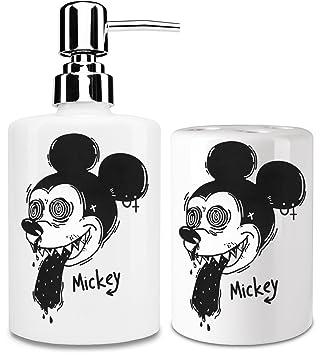 Wasted Mickey dispensador de jabón líquido y vaso para cepillo de dientes set| añadir un