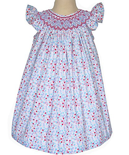 Carouselwear Hand Smocked Girls Bishop Dress With Angel Wing Sleeves For Summer