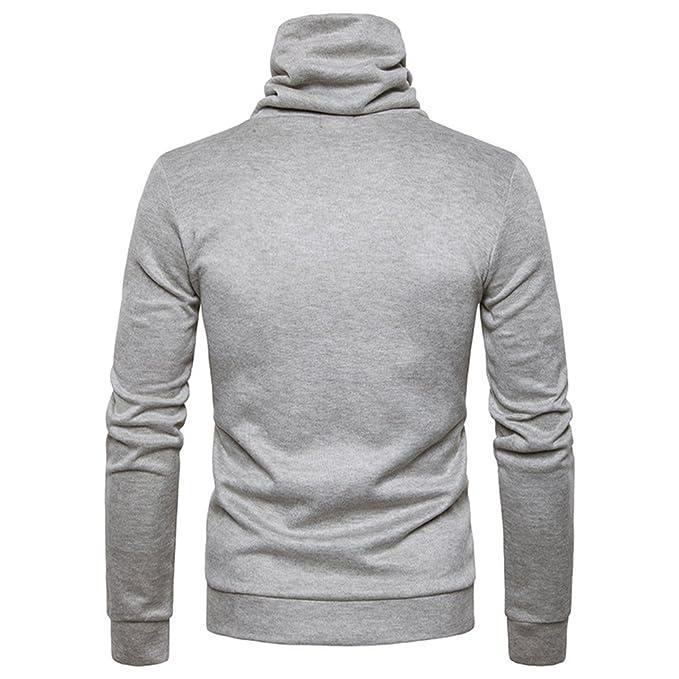 Kuson Sudadera con capucha para hombres, jersey de punto, cuello chal, manga larga ajustada