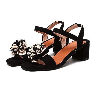 659667ee3d7d Women s Ankle Strap High Heel Sandal Chunky Block Heel Classic Flower  Wedding Party Pump Dress Sandals