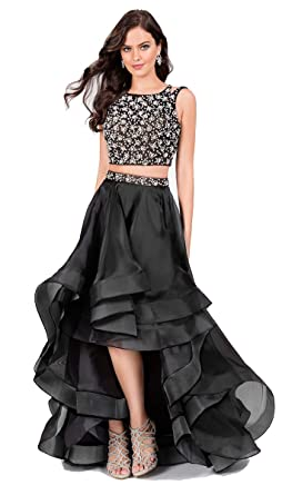 852ee089d1a Terani Couture Two-Piece Sleeveless Beaded Top High-Low Dress at ...