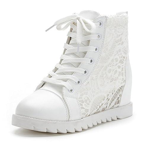 GIY Mujer Moda Encaje High Top Zapatillas cuña Plataforma Aumento de la Altura y Punta Redonda Casual Zapatillas de Deporte: Amazon.es: Zapatos y ...