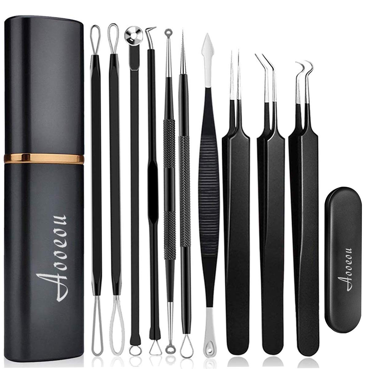 10pcs Pimple Popper Blackhead Remover Tool Ear Wax Removal Cuticle Pusher Stainless Steel Comedone Zit Blemish Acne Kit with Brush Leather Bag