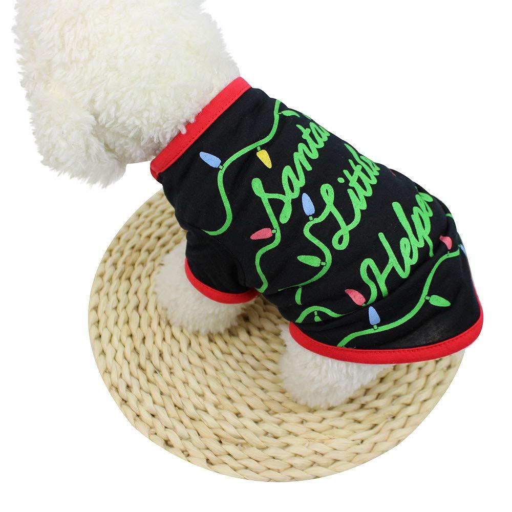37105360a16 Dog Apparel, Christmas Small Pet Dogs Clothing Santas Little Helper ...