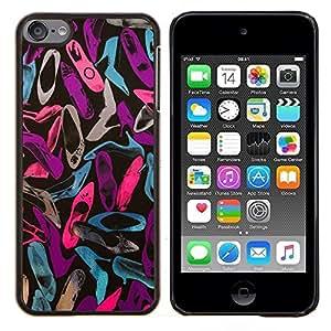 Patrón trullo Rosa Púrpura Zapatos- Metal de aluminio y de plástico duro Caja del teléfono - Negro - iPod Touch 6