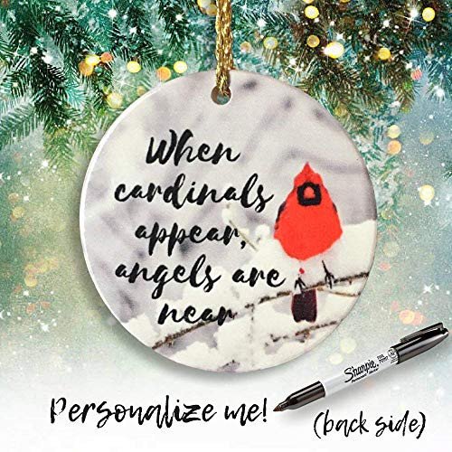 (BANBERRY DESIGNS Memorial Cardinal Ornament - When Cardinals Appear, Angels are Near Saying - Winter Cardinal Remembrance)