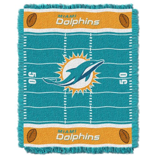 (The Northwest Company Officially Licensed NFL Miami Dolphins Field Bear Woven Jacquard Baby Throw Blanket, 36