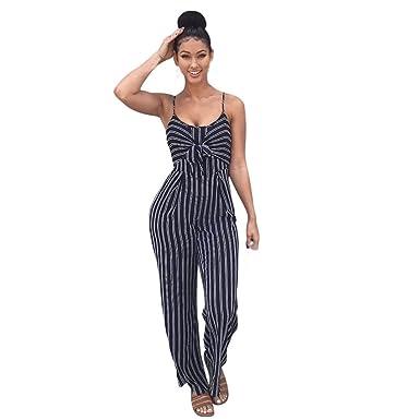6cdfe52e9a3 Amazon.com  ZhixiaYS Women Spaghetti Strap Sleeveless Striped Wide Leg Long  Pants Cut Out Back Striped Casual Jumpsuit Romper  Clothing
