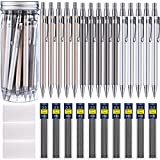 Boao 15 Pieces Metal Mechanical Pencils, 10 Tubes of Lead Refills and 3 Pieces Erasers with Clear Plastic Bottle (0.5 mm)